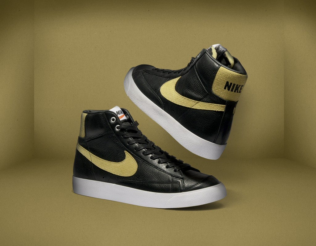 nike blazer black gold