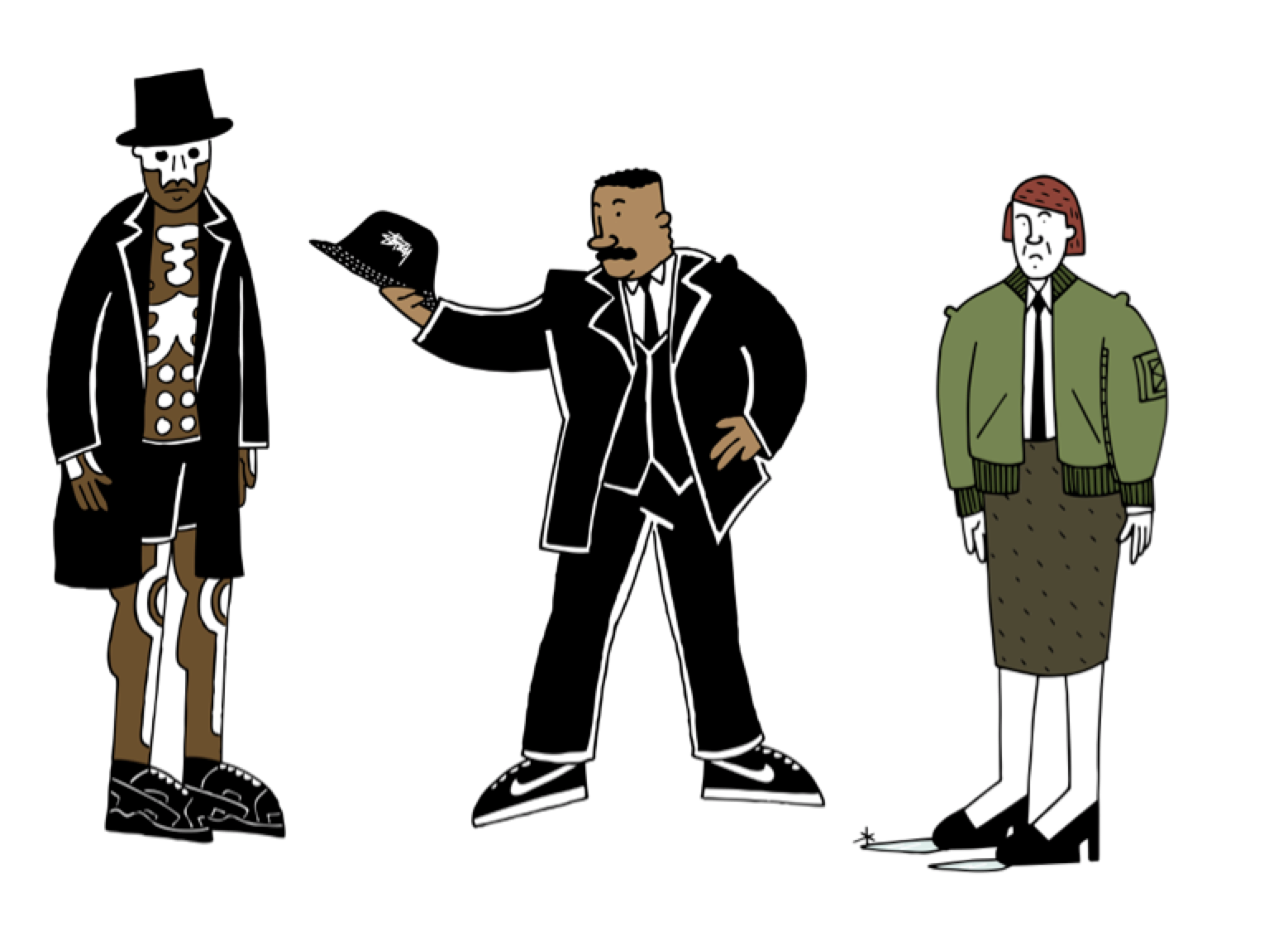 What if James Bond villains shopped at size? – illustrated by Josh Parkin.