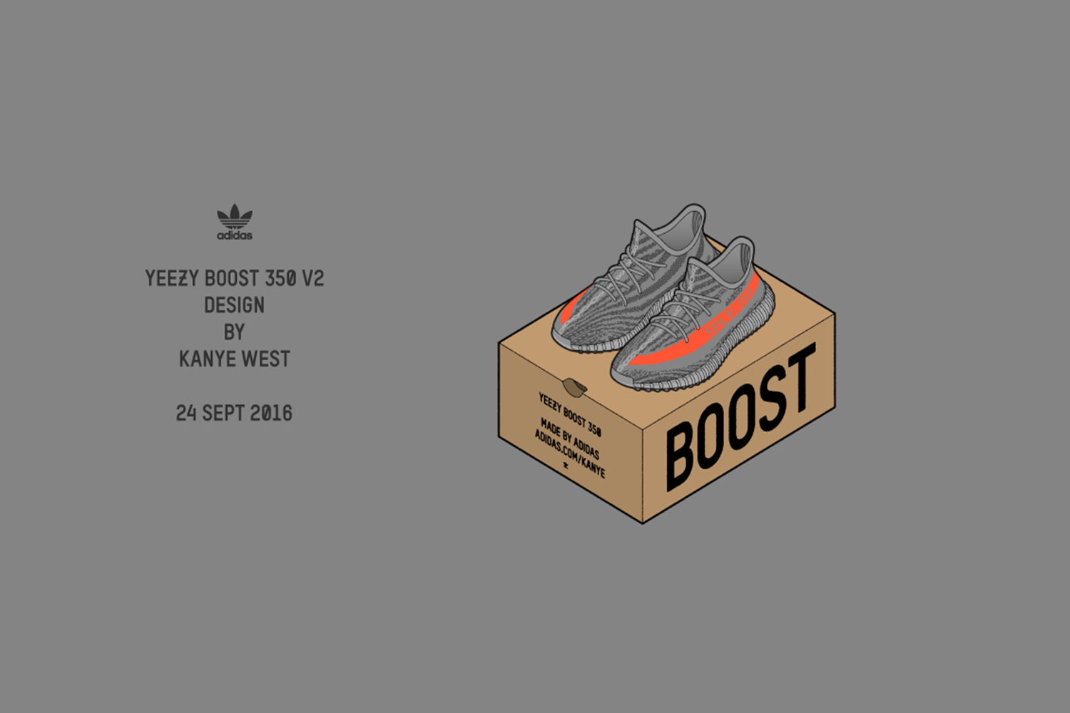 ADIDAS YEEZY BOOST 350 V2 GREY/BOLD ORANGE/DGH SOLID