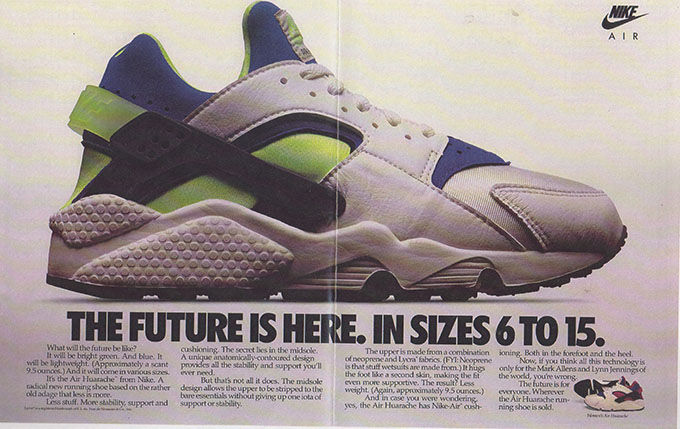 new product 03c0b 8e404 An original advert for the 1991 release. The Nike Air Huarache Basketball