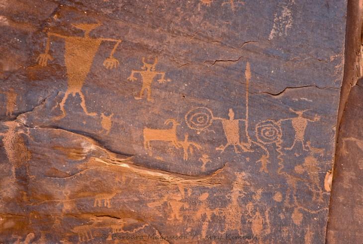 Native American warriors w/ shields & sheep petroglyphs