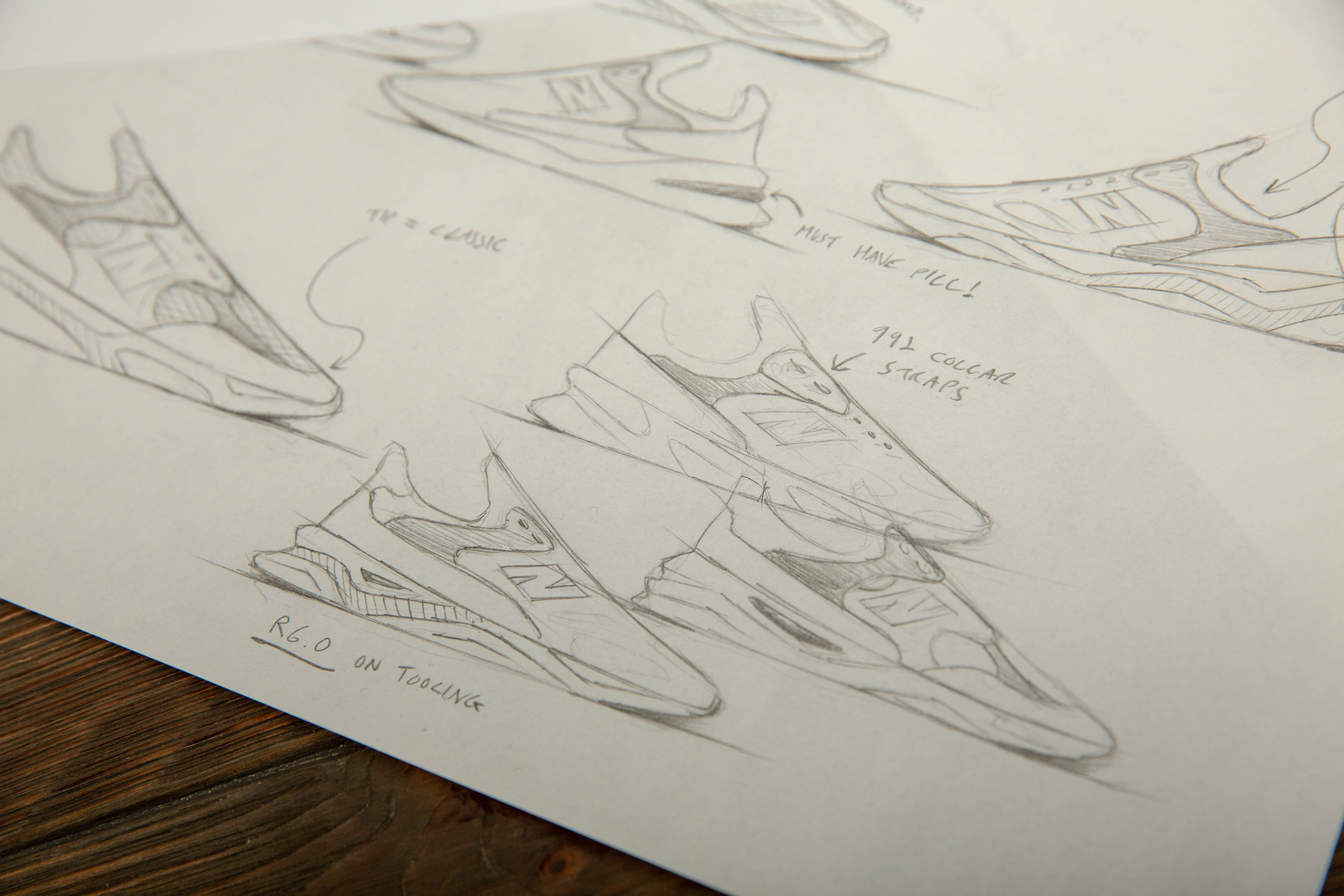 A designers sketch of the New Balance X-90