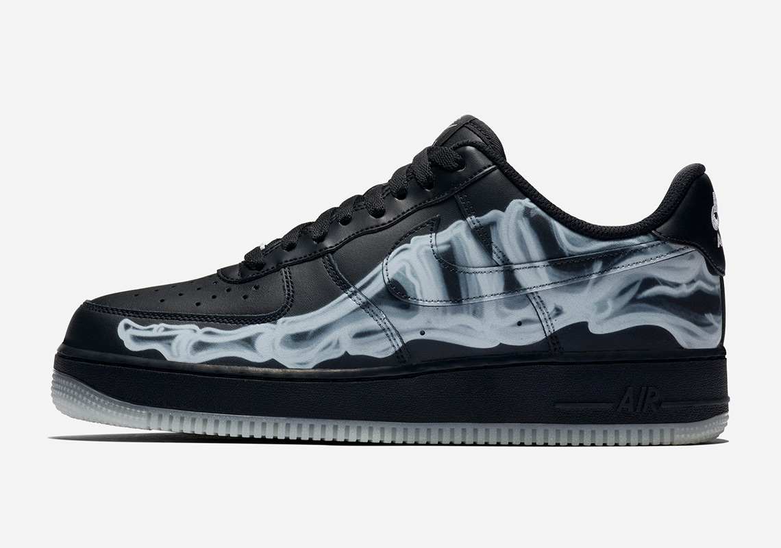 Air Force 1 Black Skeleton Print Sidewall