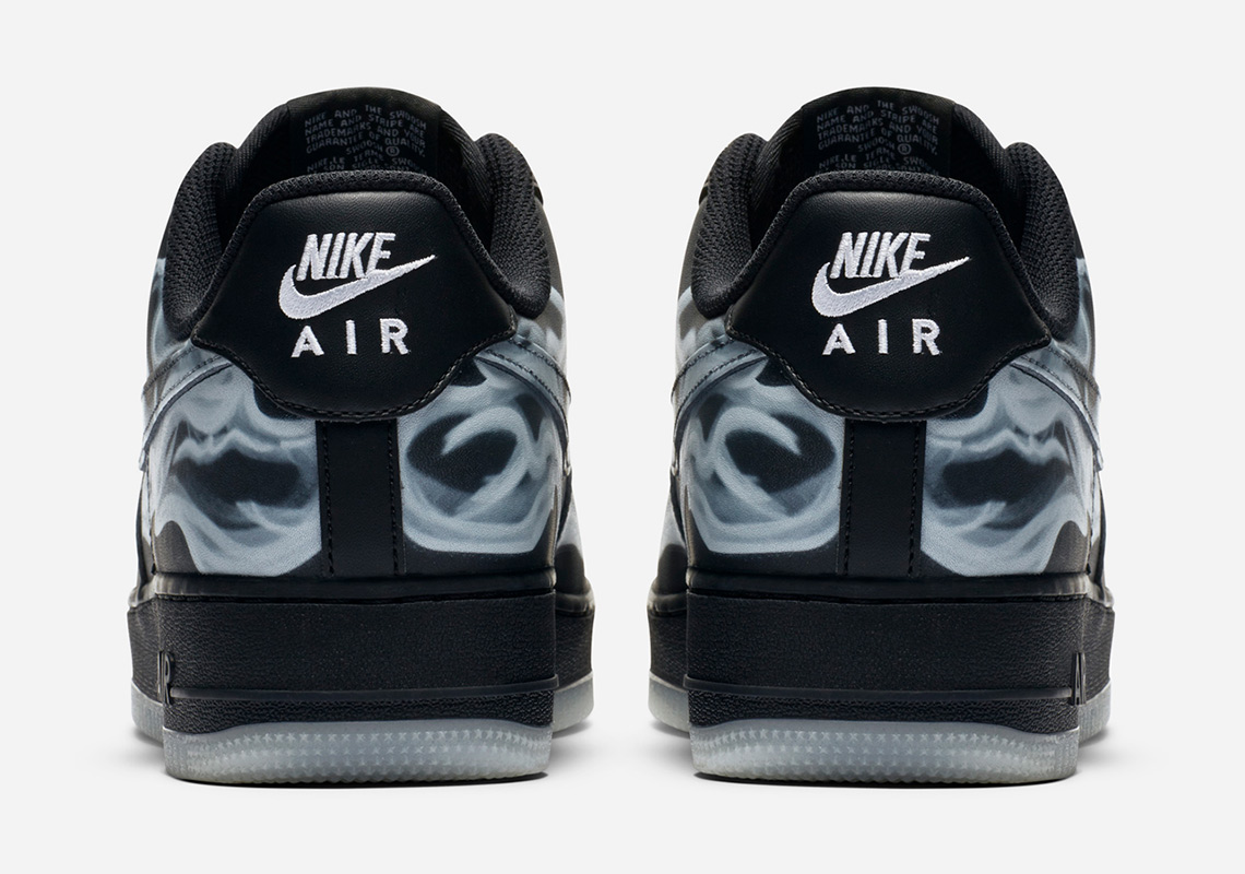 Air Force 1 Black Skeleton Print Heel