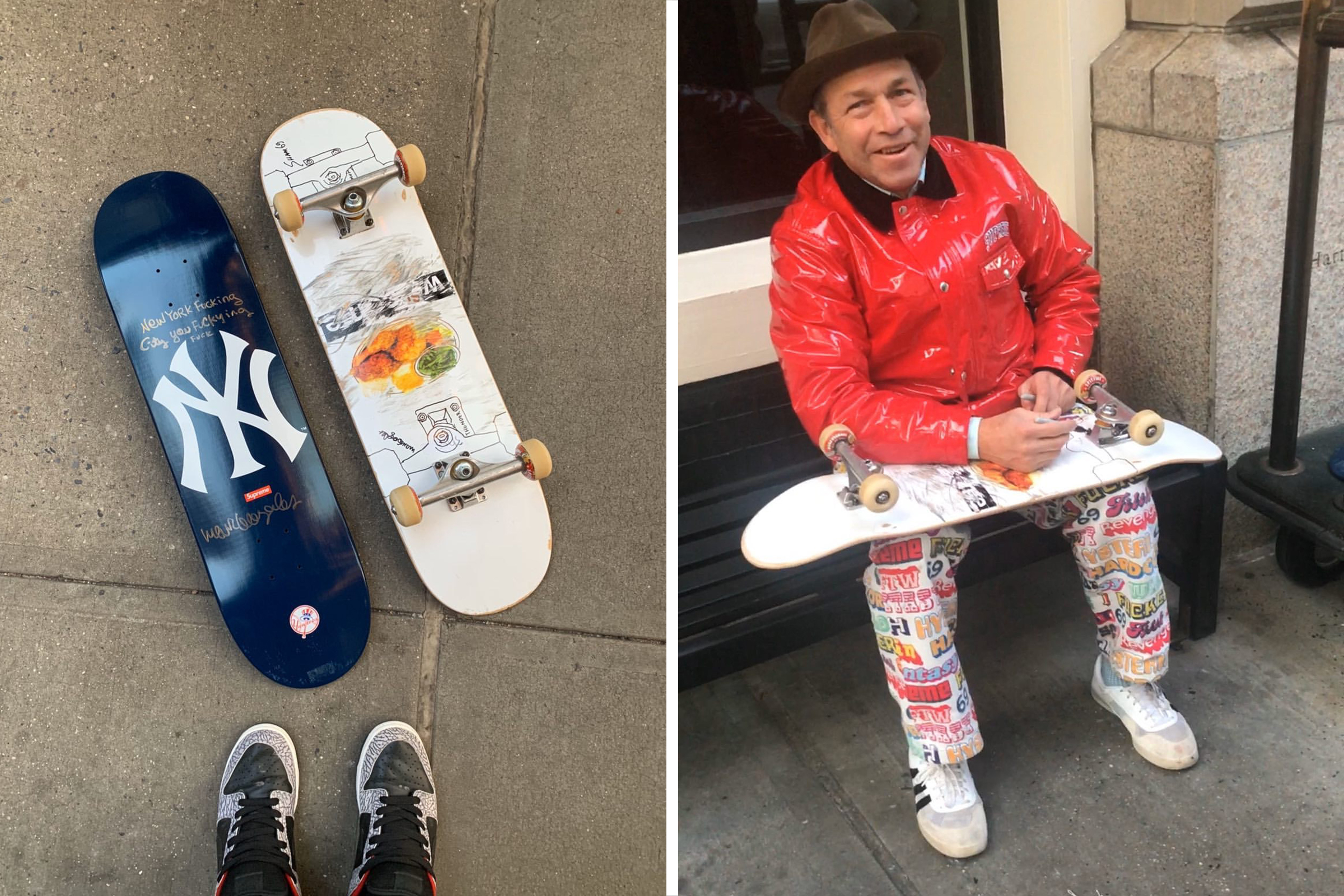 Supreme x New York Yankees skateboard - Signed by Mark Gonzales