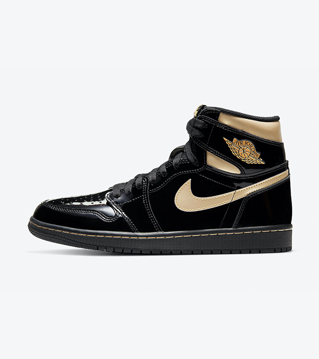 The Air Jordan 1 returns with a glossy black and gold colourway